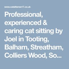 Professional, experienced & caring cat sitting by Joel in Tooting, Balham, Streatham, Colliers Wood, South Wimbledon & Earlsfield. Lots of 5 Star Customer Reviews and fully insured. From £11 per visit.