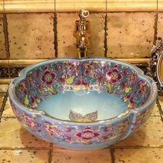 Europe Vintage Style Art Porcelain Countertop Basin Sink Handmade Ceramic Bathroom Vessel Sinks Vanities porcelain bathroom sink is part of diy-home-decor - diy-home-decor Countertop Basin, Basin Sink, Bowl Sink, Bathroom Countertops, Retro Stil, Vintage Stil, Vintage Art, Vessel Sink Bathroom, Vanity Sink