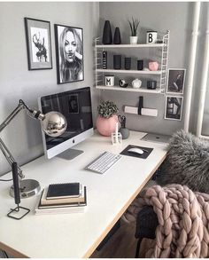 Chic grey pink and white office inspo decor