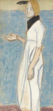 "pintoras: ""Helene Schjerfbeck (Finnish, 1862 - Girl in white (via Uppsala Auktionskamarre) "" Helene Schjerfbeck, Body Drawing, Art Themes, Global Art, Sculpture, Figure Painting, Art Market, Artist Art, Figurative Art"
