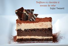 Chocolate cake and coffee mousse Coffee Mousse, Romanian Food, Romanian Recipes, Torte Recepti, Square Cakes, Something Sweet, Just Desserts, Chocolate Cake, Cupcake Cakes