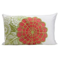 I pinned this Embroidered Jungle Bloom Pillow in Melon from the Bold Bedroom event at Joss and Main!