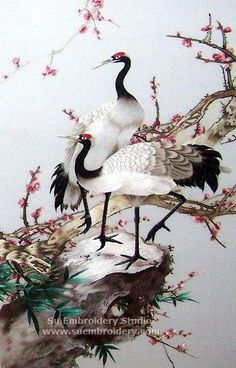 Red Crowned Cranes, silk hand embroidered artwork, Chinese suzhou embroidery, Su Embroidery Studio