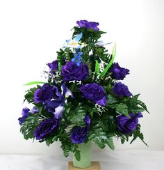 Spring Cemetery Vase Flower Arrangement Featuring Purple Roses With Butterflies, $35.99