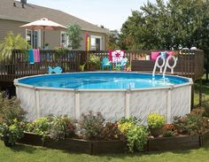 No deck? No problem. You can add landscaping around the bottom of your above ground pool.