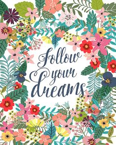 Follow your dreams Printable wall art decor Print by OhMammaMia