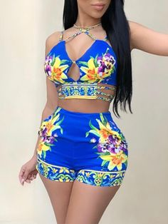 Fadvanes womens sexy two piece outfits bodycon shorts set and floral print strap crop top summer beach club wear blue l Summer Outfits Women, Sexy Outfits, Short Outfits, Chic Outfits, Fashion Outfits, Girl Fashion, Womens Fashion Online, Rompers Women, Swimwear Fashion