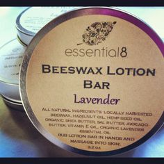 Large Beeswax Lotion Bar 35 oz in round tin by myessential8, $10.00