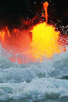 .       From angelsbeautynature    vurtual:  by Jeff Seifert.  Lava meets sea water.