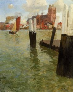 The Pier, Dordrecht, Oil On Canvas by Frits Thaulow (1851-1906, Norway) 1905