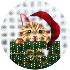 """NEEDLEPOINT HandPainted JP Needlepoint CHRISTMAS Cat Tabby in Package 4.5"""""""