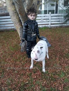 Cool Last-Minute Edward Scissorhands Boy Costume and Frankenweenie Pet Dog Costume... This website is the Pinterest of costumes