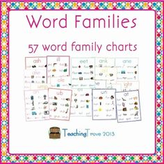 Word family charts can be used as a wall display or to introduce a new word family. This pack covers 57 word families.