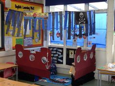 A super Pirate Book Corner classroom photo contribution. Great ideas for your classroom! Book Corner Classroom, Ks1 Classroom, Classroom Themes, School Displays, Classroom Displays, Pirate Activities, Role Play Areas, Pirate Crafts, Book Corners