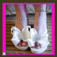 Hey, I found this really awesome Etsy listing at https://www.etsy.com/listing/113658044/ivory-white-bridal-flip-flops-jewel-flat