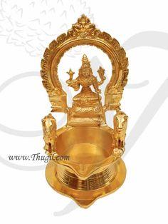Kamakshi Lamp Kamatchi vilakku diya from Thugil India Brass Diyas, Shiva Photos, Pooja Rooms, Brass Lamp, Gold Polish, Solid Brass, Buy Now, India, Ceiling Lights