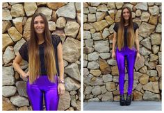 ♥ LOOK OF THE DAY 17-08-2012 ♥  ♥ Top Gasa Lunares  ♥ Musculosa Basica Negra  ♥ Calzas Metalizadas Violeta  ♥ Jackie Boots