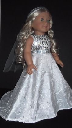 American Girl Doll Clothes  Wedding Gown and Veil by susiestitchit, $21.50