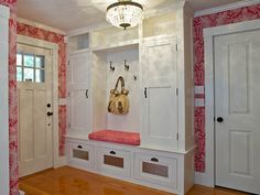 Mudroom Storage Bench Ideas With Pink Wallpaper