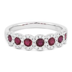 0.99ct Round Cut Ruby & Diamond 7-Bezel Anniversary / Wedding Band in 14k White Gold - AlfredAndVincent.com