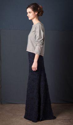 Alabama Chanin: Daisy Long Skirt Beautiful hand sewn, organic cotton jersey, applique.