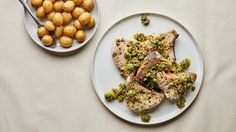 Swordfish Steaks with Olive-Pistachio Sauce and Potatoes Recipe | Bon Appetit