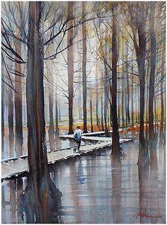 Schaller * Acuarela por Thomas W. Watercolor Trees, Watercolor Landscape, Landscape Art, Watercolor Paintings, Watercolours, Watercolor Artists, Oil Paintings, Art Thomas, Love Art