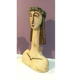Ceramic Sculpture beautiful young woman with bust sculpture with long neck Ceramic Wall Art, Pottery Sculpture, Sculpture Art, Ceramics, Dimensional Wall Art, Female Art, Greek Art, Sculpture, Art