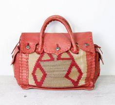 vintage kilim wool & leather travel bag
