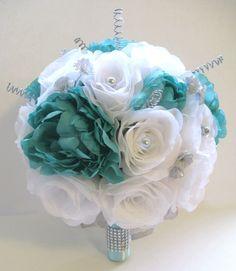 Wedding Silk Flower Bouquet 17 pc Bridal package TIFFANY AQUA BLUE SILVER GRAY  #Rosesanddreamscom #Wedding #FlowersBouquets