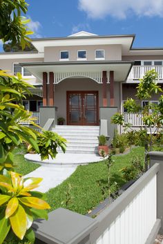 "Façade - the wooden pillars ♥ Queensland Homes Blog » » Real Home: The brief was ""a modern Queenslander with North American Art Deco influences"""