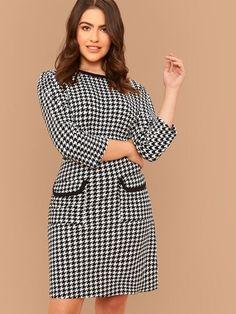 Plus Binding Detail Patch Pocket Houndstooth Dress 15 Dresses, Plus Size Dresses, Women's Fashion Dresses, Dresses For Work, Buy Dress, Peplum Dress, Houndstooth Dress, Lingerie Sleepwear, Spandex Material