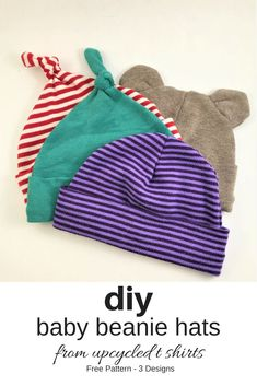 Sewing Baby Diy Baby Beanie Hats from Recycled T shirts - You Make it Simple Baby Sewing Projects, Sewing Projects For Beginners, Sewing Hacks, Sewing Tutorials, Sewing Tips, Knitting Projects, Sewing Crafts, T Shirt Recycle, Shirt Diy