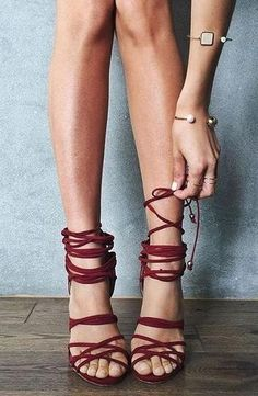 laced up sandals.