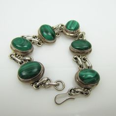 Taxco Mexico Modernist Chunky Sterling Silver Bracelet. Banded Green Onyx Malachite Bezel Set Cabochons. Old Taxco Silver Jewelry by MercyMadge on Etsy
