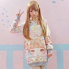 2016 neue Herbst Lolita Hoodies Frauen Nette Heiße Japan Studenten/Junge Kawaii Pullover Japanischen Mädchen HARAJUKU Lange stil Sweatshirt