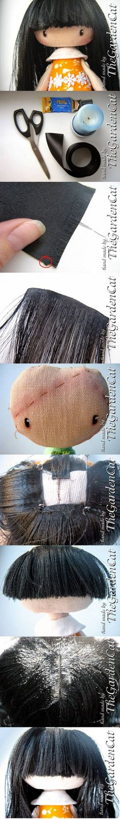 How to make doll's hair with a ribbon.