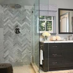 Herringbone Backsplash, Contemporary, bathroom, Jeff Lewis Design