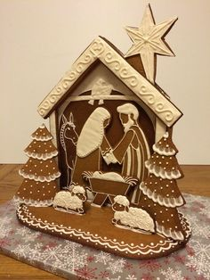Make your own Gingerbread Nativity with this tutorial, includes pattern. Elaine's Sweet Life: Gingerbread Nativity {Tutorial} LOVE THIS