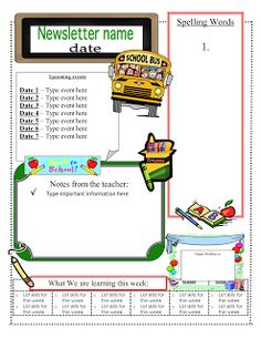 3-6 Free Resources: Free Classroom Newsletter Templates