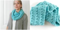 Crochet Shell Infinity Scarf Pattern. Very simple: chain, single crochet and double crochet are the only stitches. Stitched from edge to edge, not lengthwise in the round. Ends whip stitched together.