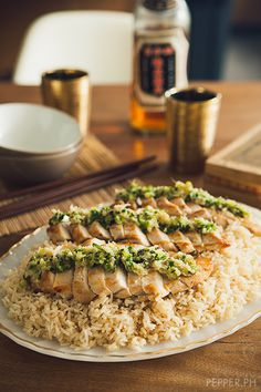 Grilled Chicken Breasts With Ginger Scallion Sauce Hainanese Chicken I Used Ciltantro Instead