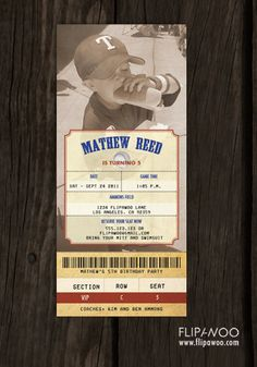 Vintage Baseball ticket invitation - Flipawoo on etsy