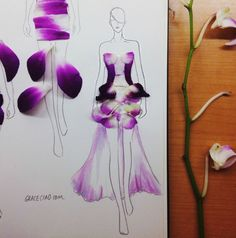 Grace Ciao's flower petal fashion illustrations.