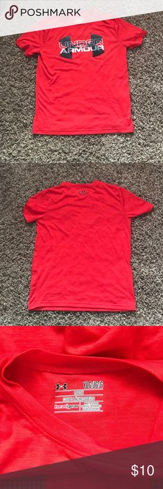 Under Armour | Youth L | red shirt Worn a handful of times and outgrown.  Still in great condition and ready for a new kiddos closet!  Under Armour super soft red tee in youth large.  No rips, stains, holes or tears.  Non-smoking home. Under Armour Shirts & Tops Tees - Short Sleeve
