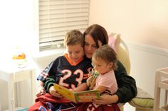 One of our co-founders reading with her little ones before bed.