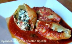 Spinach and Feta stuffed shells. Freezer friendly. 309 calories and 8 WW Points Plus