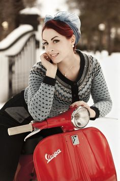 #red #Vespa #scooter #pin-up