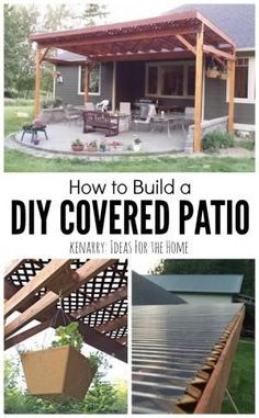 Beautiful idea for your backyard! How to build a DIY covered patio using lattice and wood to create a little shade from the sun. by rosella Architectural Landscape Design