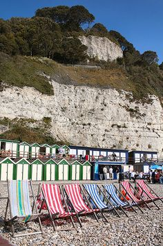 Deck chairs and beach huts on Beer beach British Seaside, British Isles, Seaside Beach, Beach Huts, Beach Hut Interior, Exeter Devon, Dartmoor National Park, Farm Holidays, South Devon